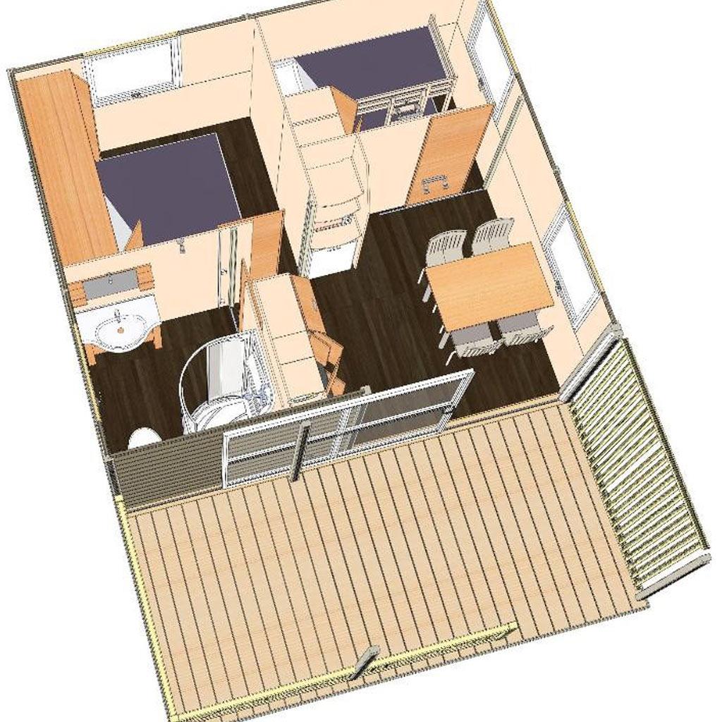 NL – Hébergements > Locatifs > Chalet 32 m2 2 chambres