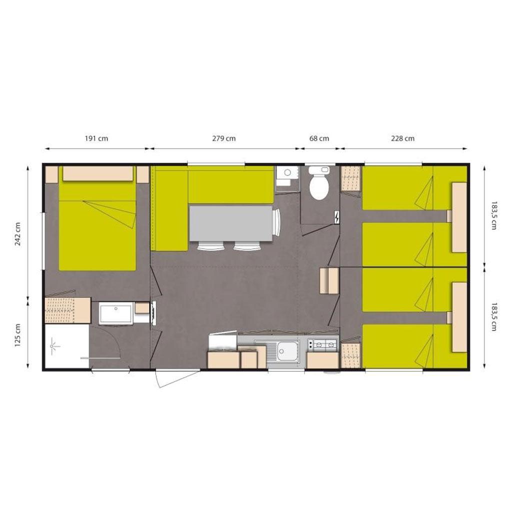 DE – Hébergements > Mobil-Homes > Confort plus 44 m2 3 chambres